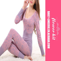 Wholesale Women 3 Colors Sexy Printed Round Neck Thermal Underwear