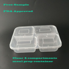 TOP QUALITY, BPA FREE Plastic 4-Compartment Stackable Meal Prep Containers