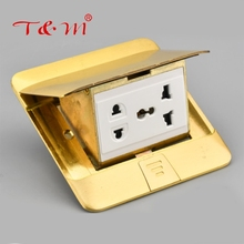 Hot selling 110V-250V square electrical copper power floor outlet socket box