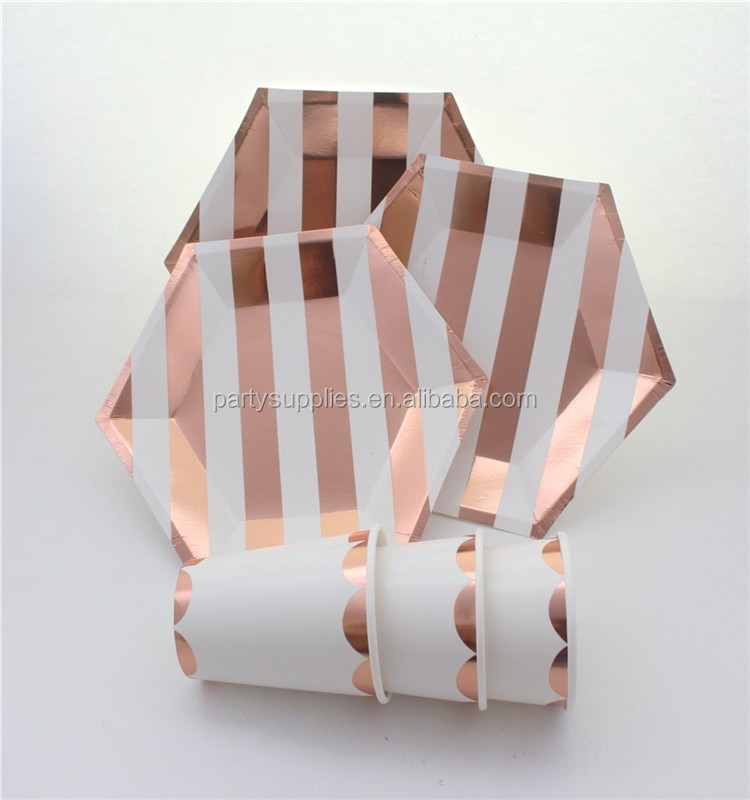 Rose Gold Party Tableware Set Hexagonal Small 7inch Sweet Dishes Large 9inch Paper Plates 250ml Foil Scallop Paper Cups