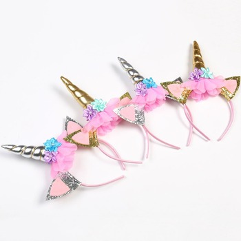 Unicorn Horn Head Band Flowers Ears Bands for Party Decoration or Cosplay Costume