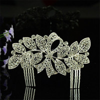 Hot sellig hair ornament customized crystal ivory accessory rhinestone bridal alloy flower hair combs
