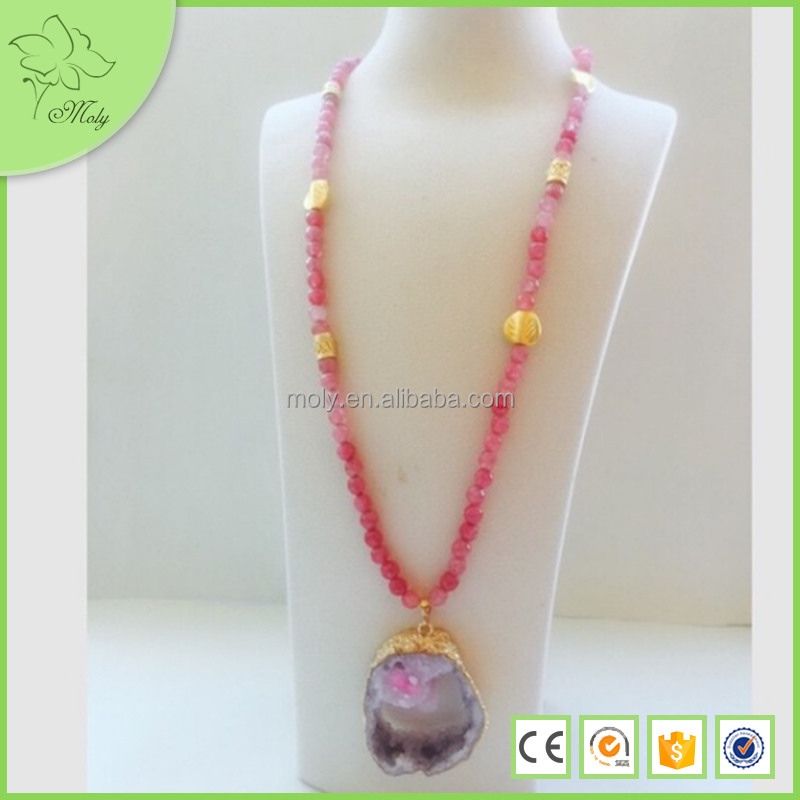 Custom Fashion Druzy Pendant Necklace Jewlry Wholesale