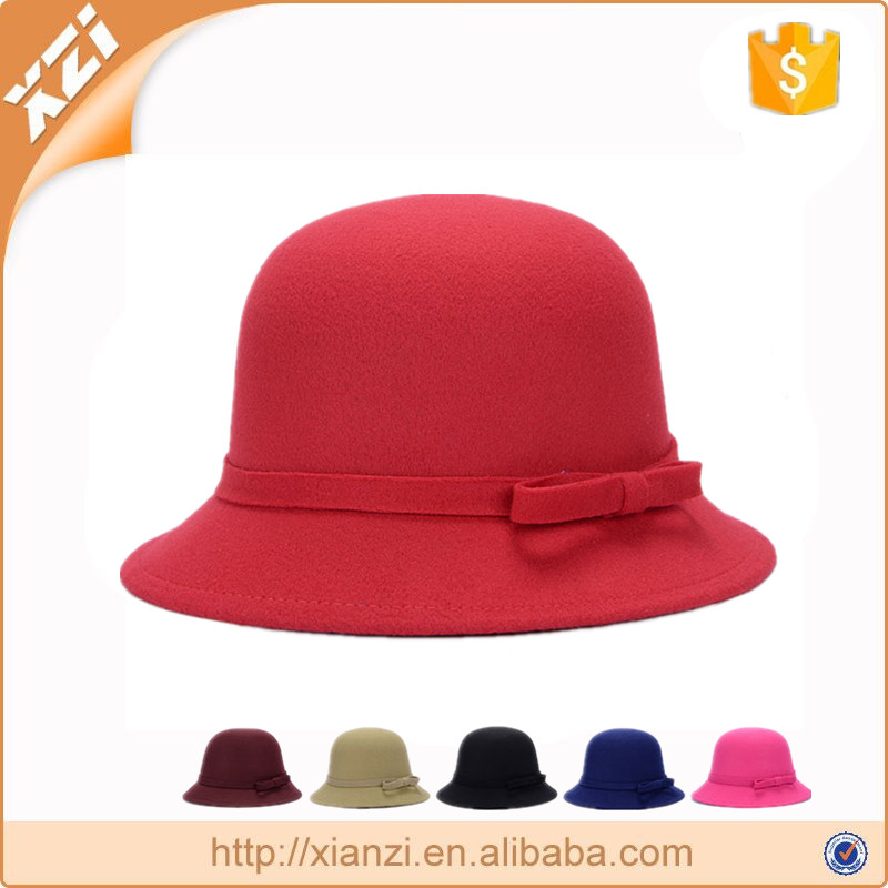 100% polyester wool felt hat short brim hats Hepburn style cloche hat