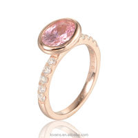 Gemstone Ring Religious Finger Ring Pink Stone Jewelry Silver RIPY051-8
