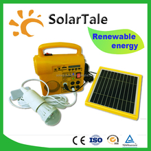 mini rechargeable portable solar light solar kits with 2 bulbs and mobile phone charger