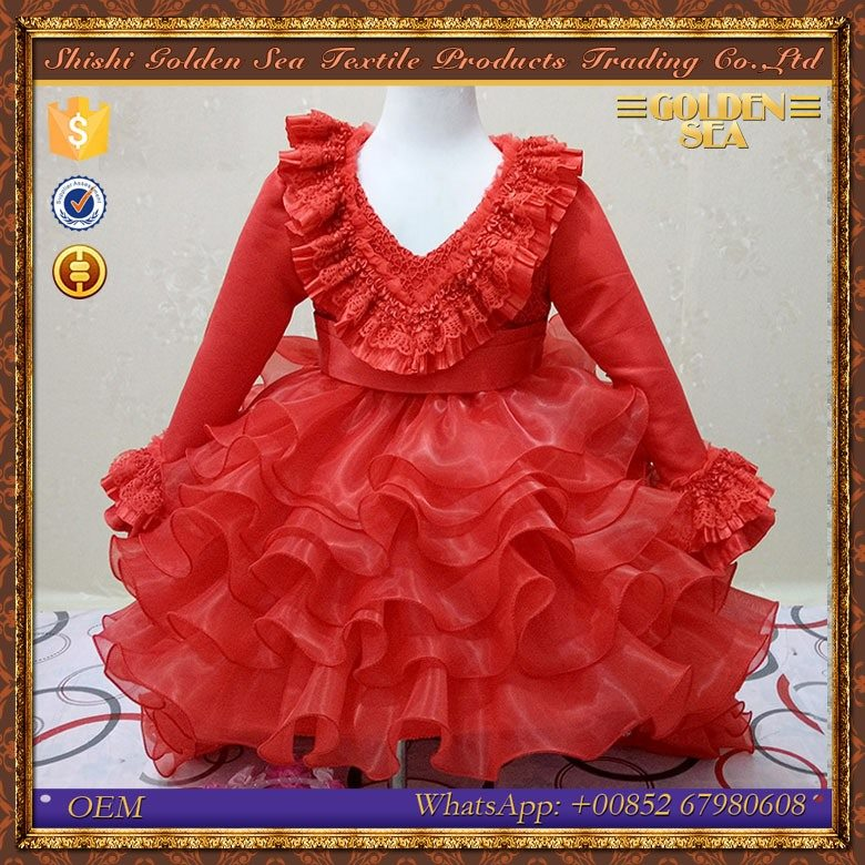 new design elegant red wedding kids princess dresses