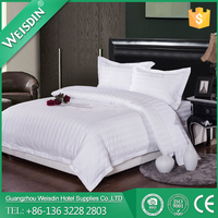 Wholesale 3CM stripe polycotton hotel queen size white bedding set