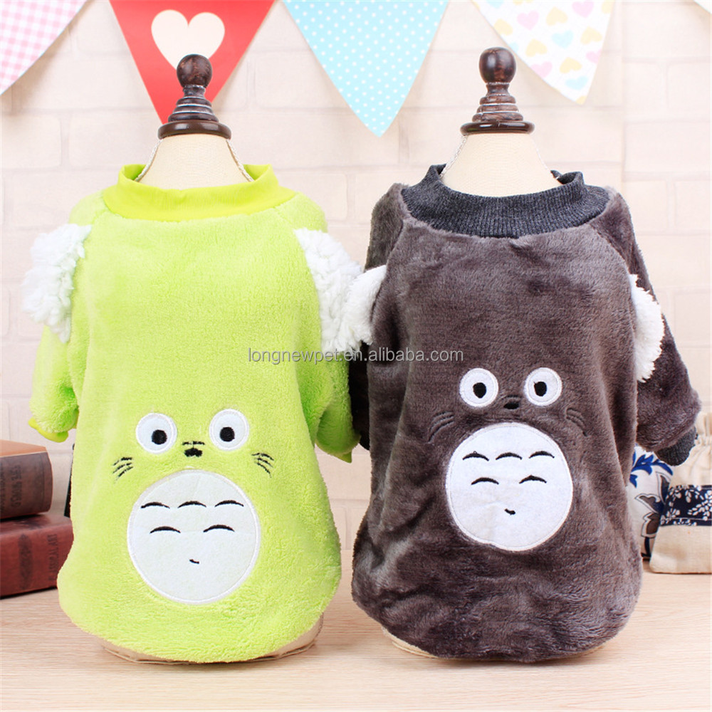 Cute Gray Green Cartoon Totoro Dog Costume Winter Dog Apparel for Pet