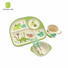 2018 new design best sale style eco-friendly bamboo fiber kids dinnerware sets