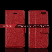 lichee pattern classical genuine cowhide leather mobile phone cover for iphone 5 5s wallet case with card slots