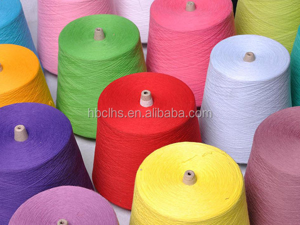 100% Doped dyed yarn multicolor polyester spun yarn factory price