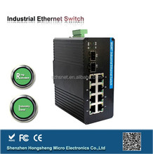 QoS,VLAN,ACL,STP,SNMP Ring Protection din-rail 8 ports Managed Industrial Ethernet Switch