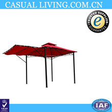 Outdoor Garden Wrought Iron Gazebo with Fold Out Extended Canopy