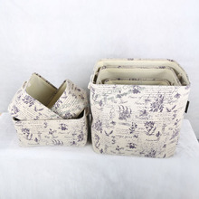 Fabric Storage box with Printed Flower