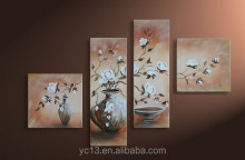 modern handmade 4pcs panel flower art work painting