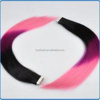Forever virgin 100% human extension small MOQ popular fashion colorful three tone tape in hair
