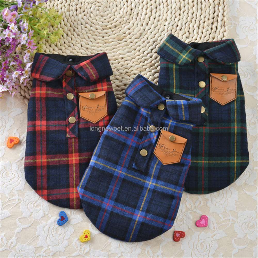 New Arrival British Style Plaid Pet Winter Clothes Small Dog Coats for Puppy