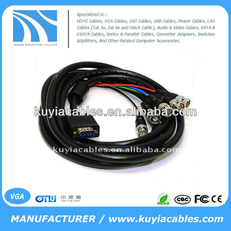 BRAND NEW PREMIUM BLACK VGA TO 5BNC CABLE CONVERTER SHORT High-End Monitor Cable, HD15M - 5xBNC