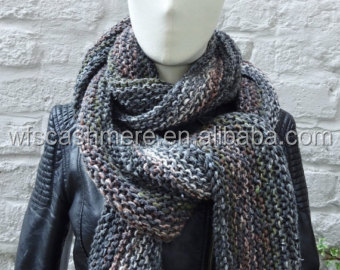 Grey Brown Mix Long Knitted Scarf, Mens Scarf Cashmere, Cotton, Wool, Silk 7 Foot Long