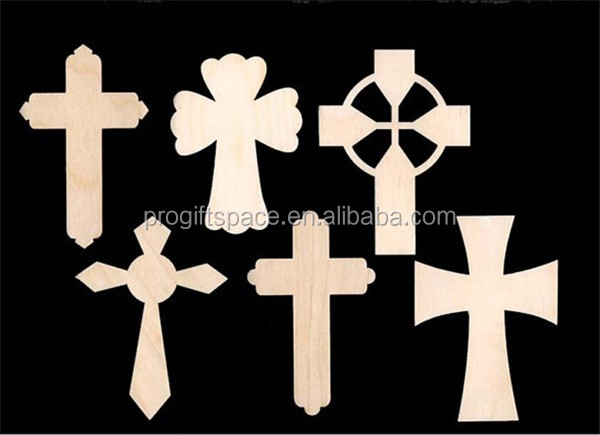 Hot sell CROSS Assortment 6 Pieces Natural Craft Wood Shape made in China