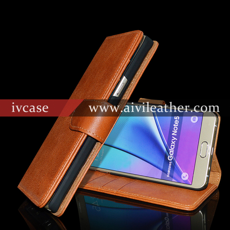 Premium brown genuine real leather case for samsung galaxy note 5 with credit card slots, for samsung galaxy note 5 case