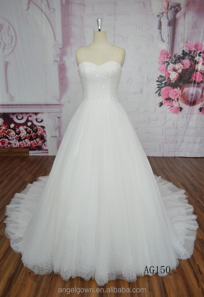 2014 High Quality China Supplier Alibaba Suzhou Cheap White Ball Gown Boat Neck Embroidery Bridal Gown Real Sample Wedding Dres
