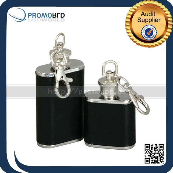 Easy Carry Pu Leather Wrapped 1oz Mini Keychain Hip Flask