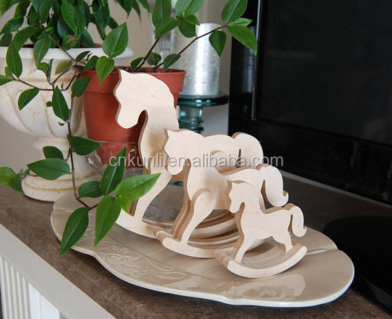Wooden rocking horses, wood standing decor
