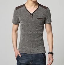 New Arrival V-neck Linen Short Sleeve Men T-shirt