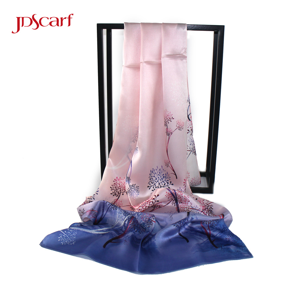 indian pure satin scarves blue chinese shawls double sided 100% silk shawl