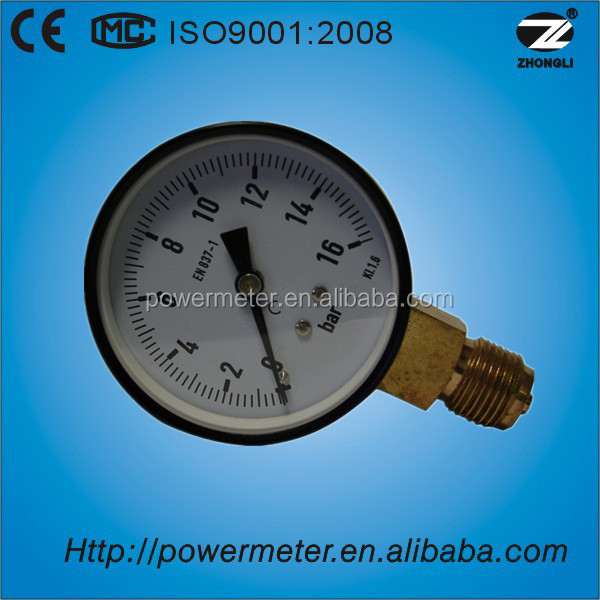 50mm water pressure gauge 16bar bottom type meter