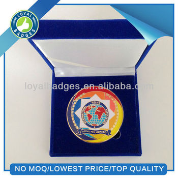 hard enamel custom gold color metal coins with gift box
