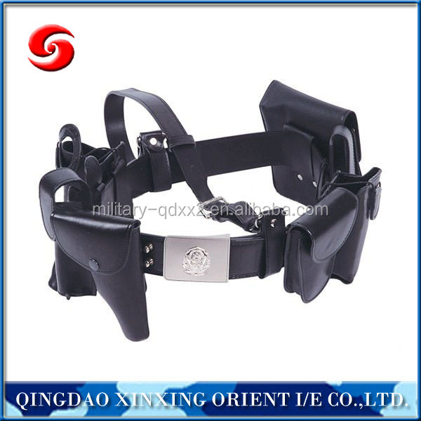 Muti-functional Leather Police Belt with Metal Buckle