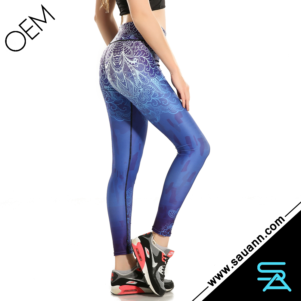 Blue Ombre Paradise Print Yoga leggings Sport Wear Gym Clothing