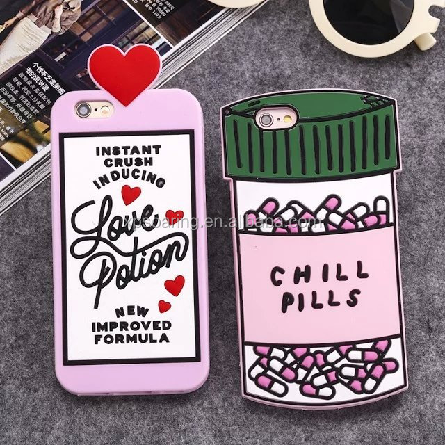 New design Pills silicone case cover for iPhone 5 6 6plus, Lovely silicone case for iPhone Samsung