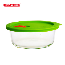 Cute home storage glass food container with silicon lid