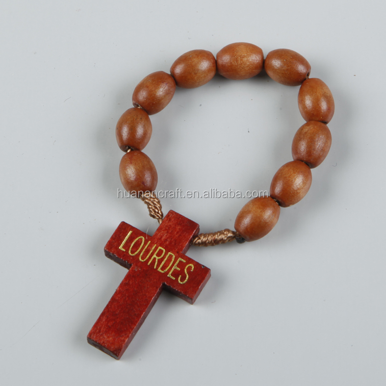 oval wooden finger rosary with cross LOURDES for FRANCE