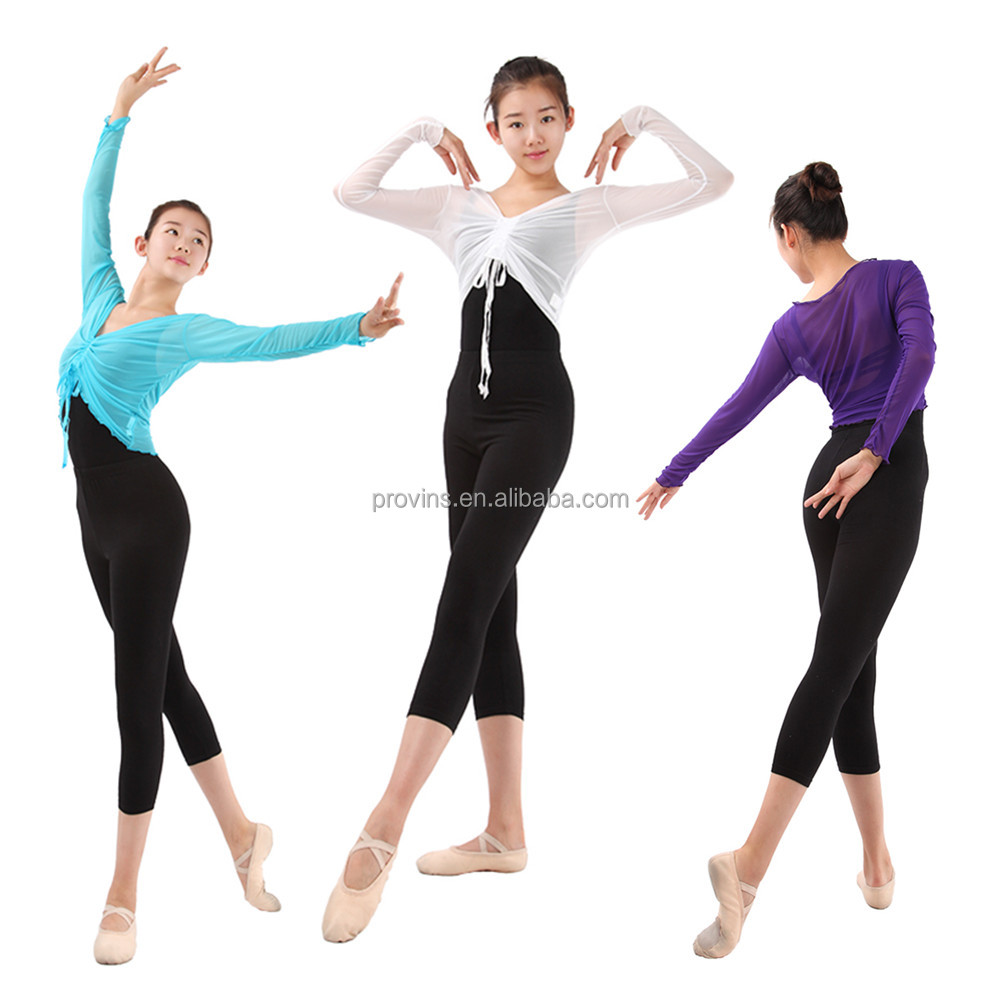2016 New Front Drawstring Long Sleeve Mesh Dance Top for Women