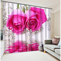 New fashion digital printing curtains with rose flower for house design curtain