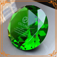 large green glass diamond for engraving souvenir paperweight
