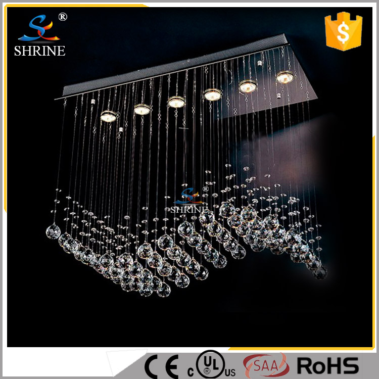 110V UL New Design Modern Crystal Wave Chandelier <strong>Lighting</strong> For Wholesale Price Model : SC7530-6L
