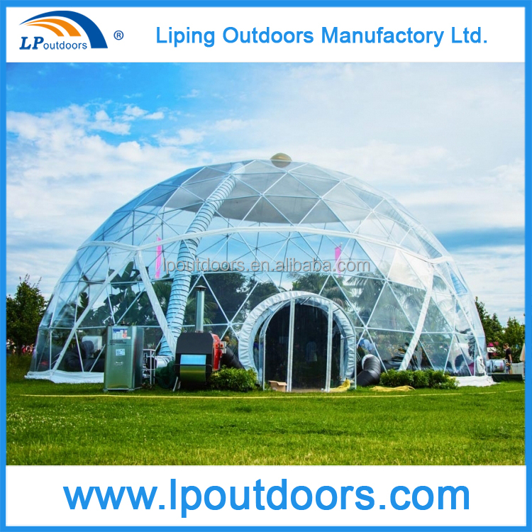 Transparent PVC Cover Steel Frame Geodesic Half Dome Tent For Outdoor Event