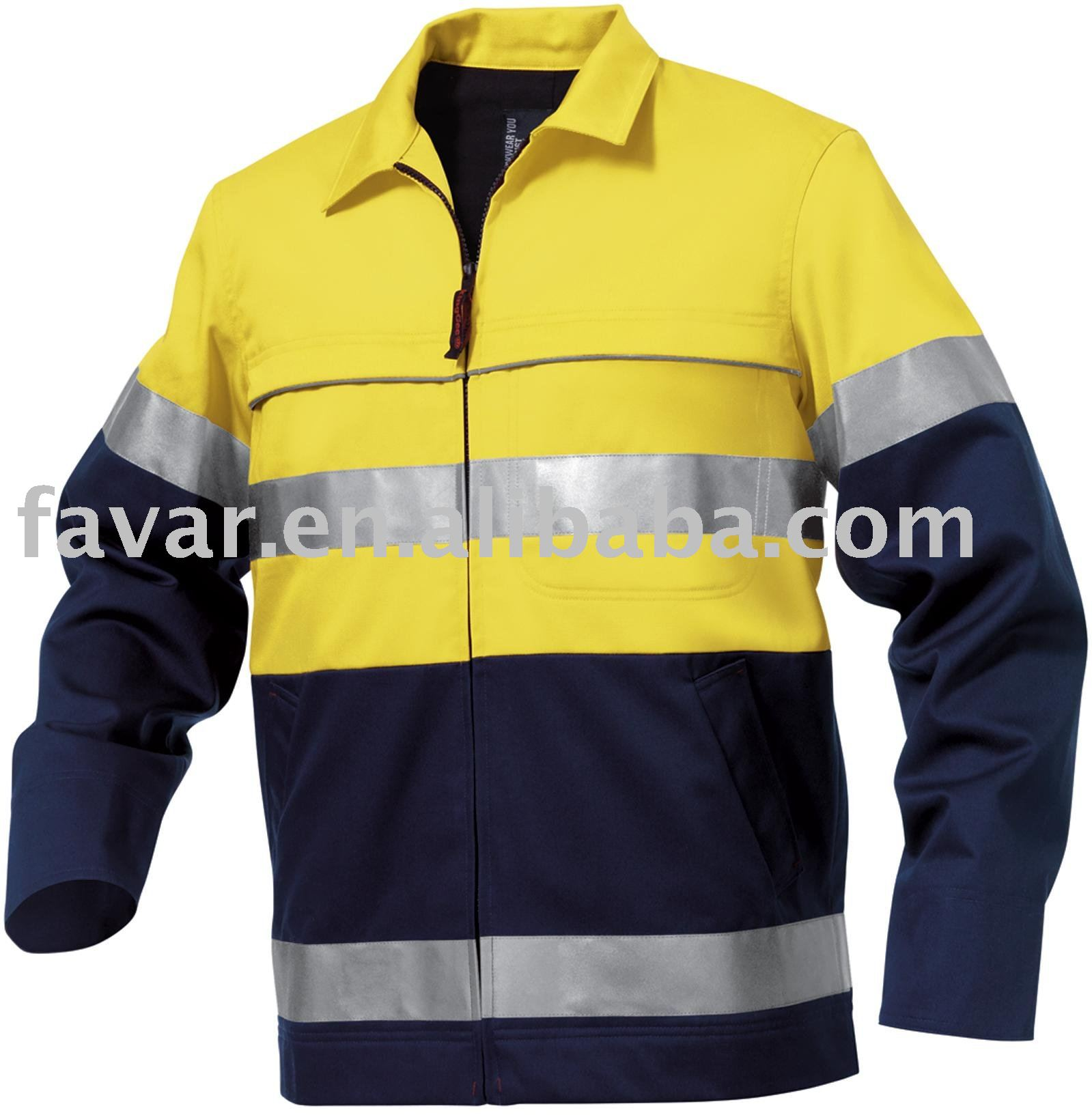 Men's Reflective Spliced Nano-Tex Drill safety Jacket
