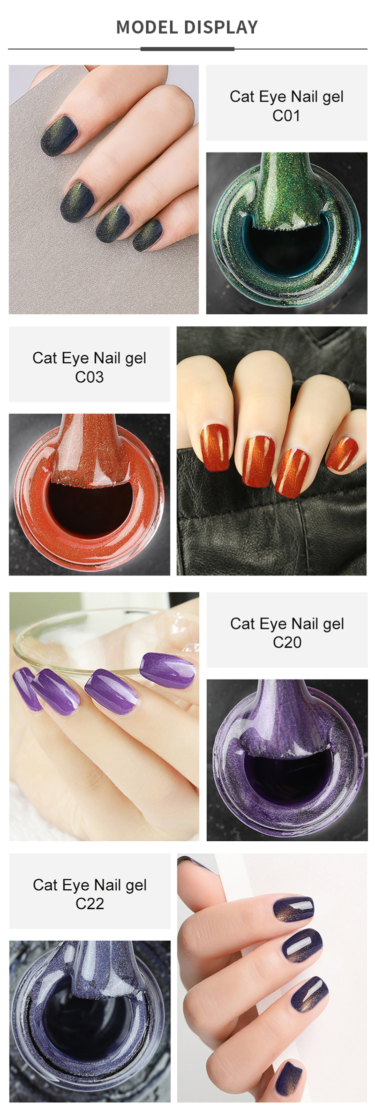 Rosalind 10ml 3D magnet cat eye color uv led gel polish soak off nail art cat eye gel nail polish for wholesale
