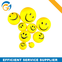 Yellow Color Round Pu Stress Smiley Ball