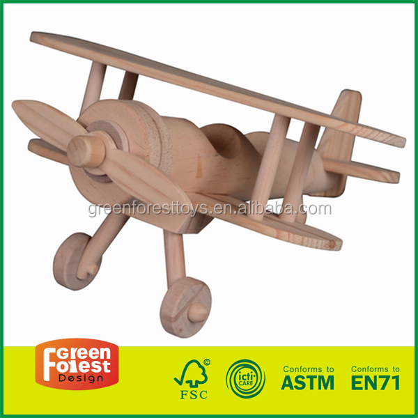 wooden Eco-Friendly Wood Kids Airplane Building Kit 3d puzzle diy toy