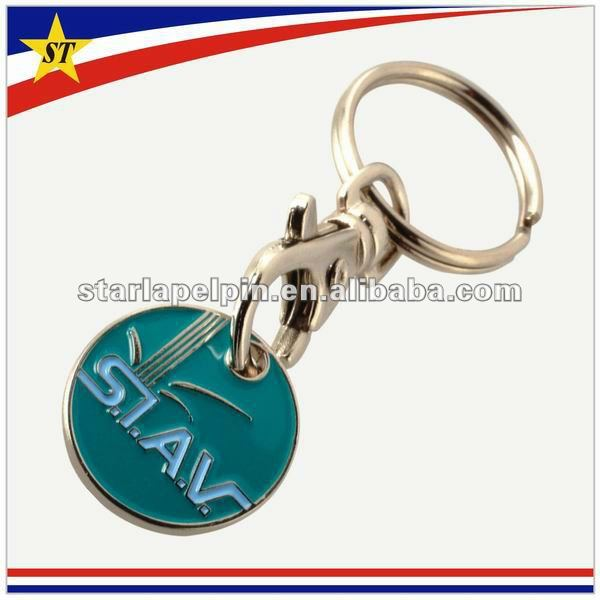 Customized Metal Trolley Coin Key Chain With Logo