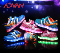 Size 26-37 Shop On Line Colorful Happyfeet Flashing LED Shoes Buackle Trap Unisex Kids Sneakers for Wholesale