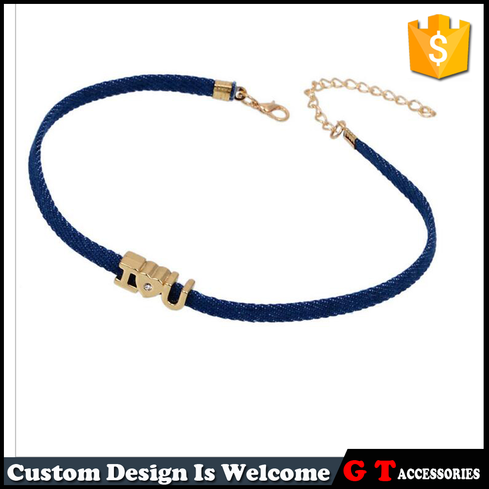 Unique Design Denim Chokers Charm Necklaces For Women On Valentine Day Gift